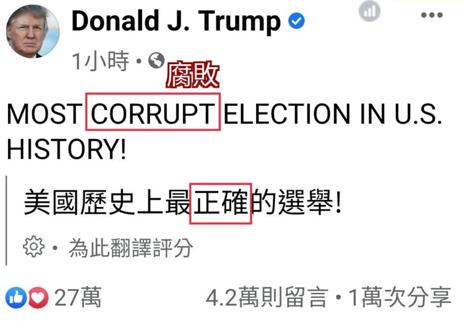川普發文「Corrupt」被翻成「正確」!網痛罵臉書:跟洗腦沒兩樣