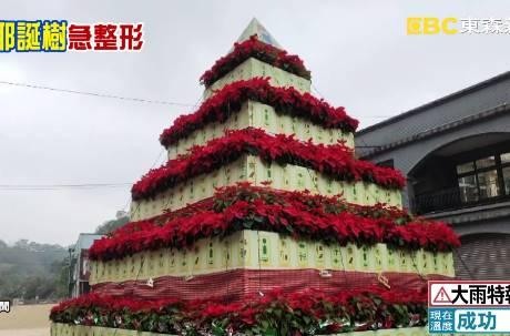 桃園山城紅花節「金字塔聖誕樹」太像罐頭塔! 網笑:聖誕普渡?