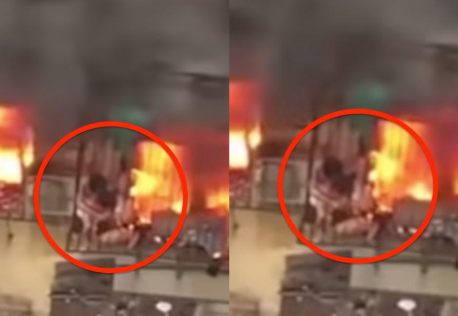 影/肉身擋火死在女兒面前!媽媽被燒撐住保護父女影片曝光