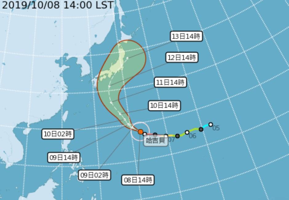 2019最強颱!「野獸颱風」哈吉貝轉北直衝 台灣首波低溫來襲