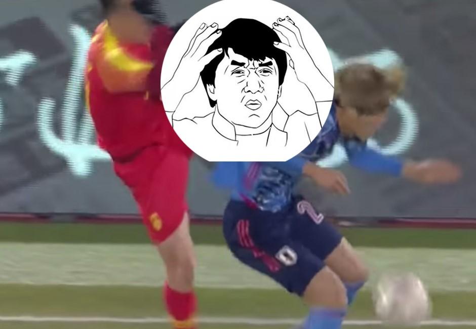 中國球員「空中飛踢」一腳爆頭日本對手 超荒謬辯解遭網友撻伐