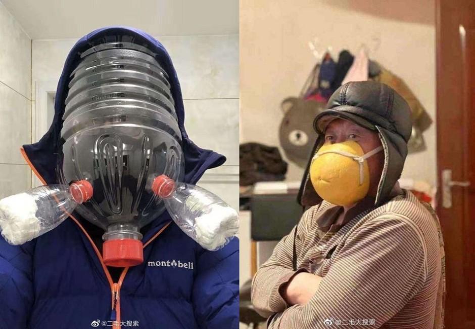 買不到口罩「水桶套頭、戴柚子皮」!中國居民「超狂自製口罩」讓網友全看傻