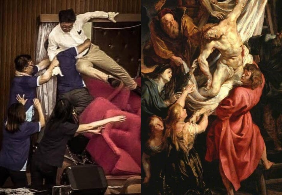 原來立法院是藝術殿堂?「藍綠混戰圖」撞世界名畫網笑瘋