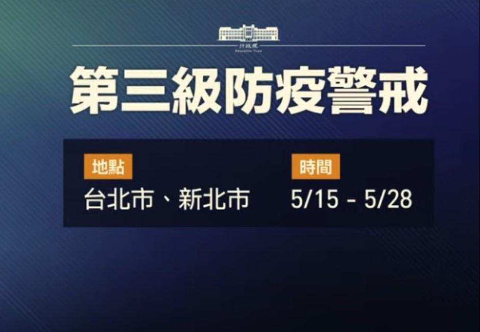快訊/5/15~5/28雙北升三級防疫警戒!單日增180例確診 防疫重點一次看