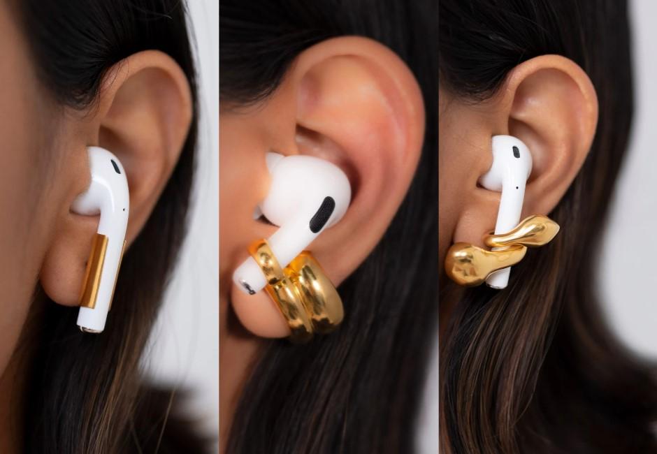 Airpods究極戴法!品牌推「固定耳環」超時尚 網吐槽:忘記拔會痛死