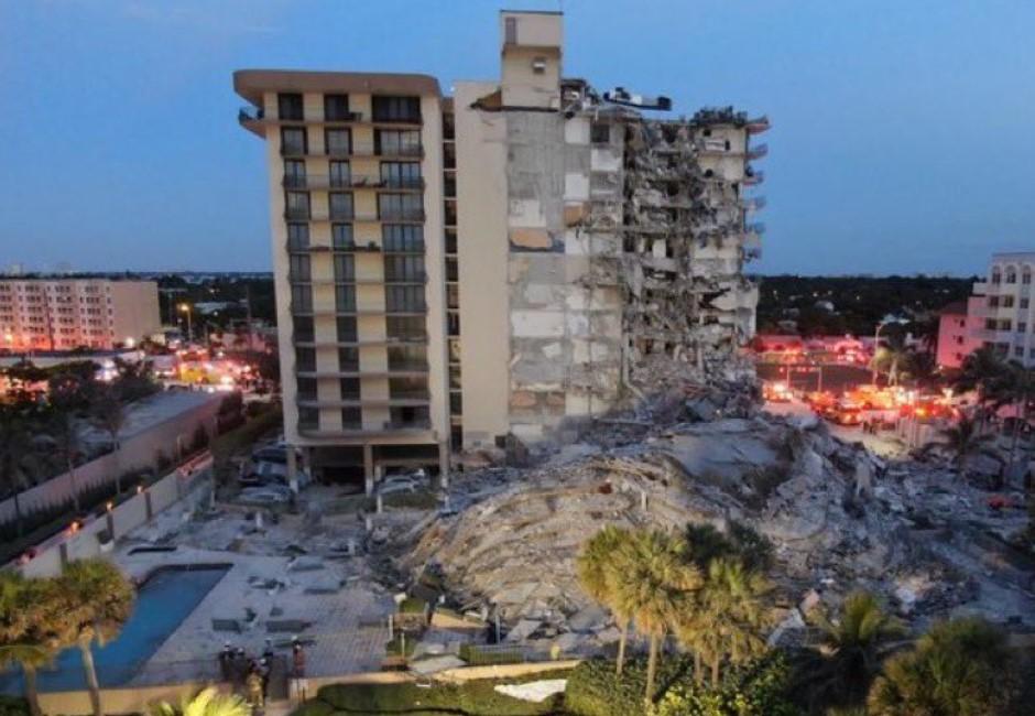 驚悚影片曝光!邁阿密12層公寓瞬間坍塌 99人失聯搶救中