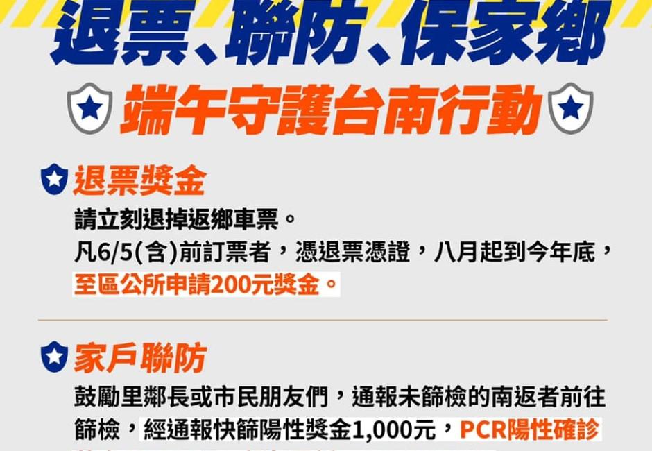 快訊/阻返鄉 黃偉哲祭出退票拿二百元 檢舉確診拿一萬元