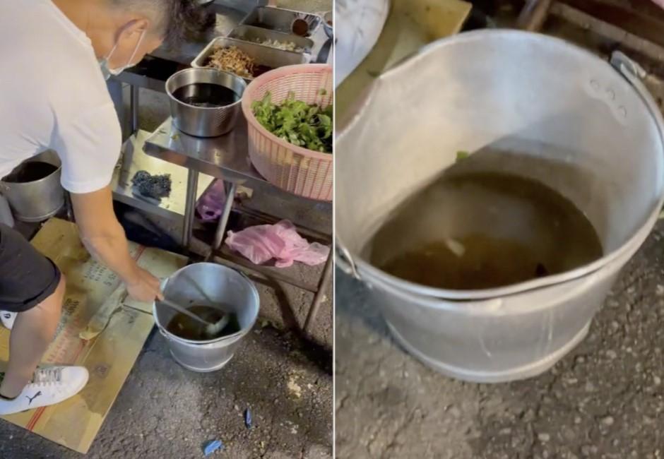 夜市攤販「撈髒水洗鍋子」!水質發黑漂浮不明物體⋯網驚:不敢吃了