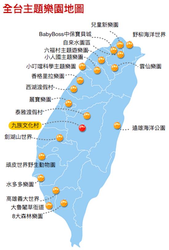 全台灣主題遊樂園分布地圖